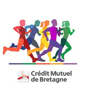 Des silhouettes de femmes et d'hommes surplombent le logo du Crrédit Mutuel de Bretagne et courent ensemble dans la même direction.